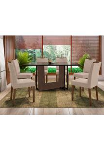 Conjunto De Mesa De Jantar Com Tampo De Vidro E 6 Cadeiras Munique Veludo Linho Preto E Bege