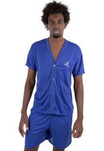 Pijama Linha Noite De Botão Masculino - Masculino-Azul