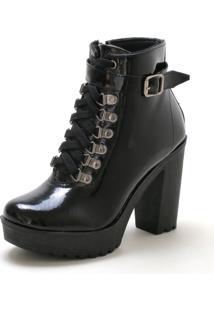 Bota Navit Shoes Tratorada Fivela Verniz Preta