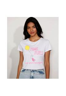 Camiseta Feminina Manga Curta Leitão Ursinho Pooh Decote Redondo Lilás