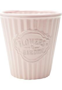 Cachepot Cerâmica Cute Pleat Bucket Rosa 14,1 X 14,1 X 14,7 Cm Urban
