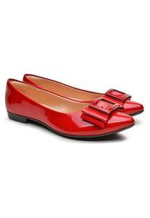 Sapatilha Feminina Verniz Bico Fino Laço Fashion Conforto Azul 34 Vermelho