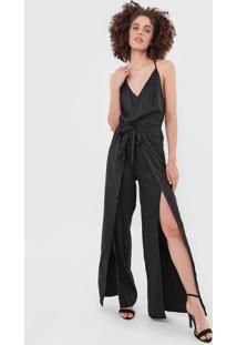 Macacão Calvin Klein Jeans Pantalona Fendas Preto