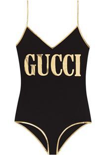 Gucci Maiô Com Estampa Gucci - Preto