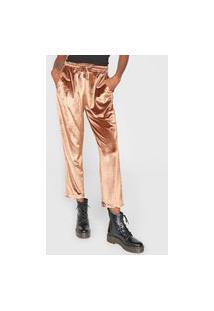 Calça 2Nd Floor Reta Velvet Chrome Marrom/Dourado
