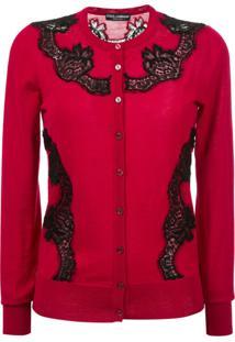 Dolce & Gabbana Cardigan Com Renda - Vermelho
