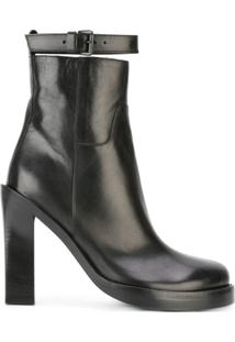 Ann Demeulemeester Ankle Boot De Couro - Preto