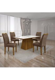 Conjunto Sala De Jantar Mesa Tampo Mdf/Vidro Branco E 4 Cadeiras Pampulha Leifer Canela/Linho