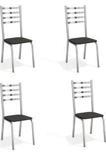 Conjunto Com 4 Cadeiras De Cozinha Alemanha Cromado E Preto