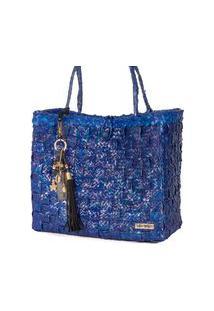 Bolsa Tote-Shopper Palha Feminina Berloques Metais Passeio Azul