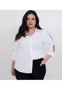 Camisa Com Listra Nas Mangas Curve & Plus Size