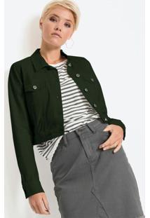 Jaqueta De Sarja Cropped Verde