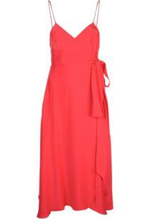 Kamperett Vestido Envelope Midi - Vermelho