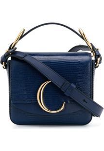 Chloé Bolsa Transversal Com Logo - Azul