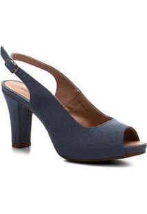 Sandália Shoestock Meia Pata Jeans Feminina - Feminino-Azul