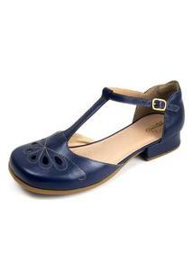 Sandalia Miuzzi Couro Feminina Look Moderno Dia Dia Casual Azul 35 Azul
