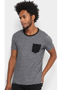Camiseta Redley Contraste Listras Masculina - Masculino