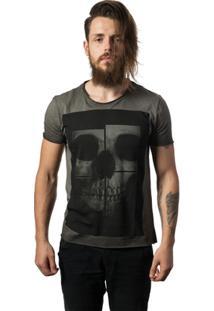 Camiseta Estonada Skull Lab Skull Mirror - Masculino-Grafite