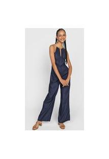 Macacão Cantão Pantalona Cordão Azul-Marinho