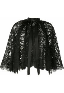 Dolce & Gabbana Pelerine Com Renda - Preto