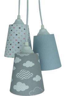 Lustre Crie Casa Pendente Quarto Infantil Nuvens Cinza E Branco