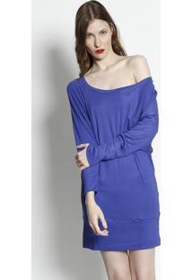 Blusa Alongada Em Tricô - Azul Escuromoiselle