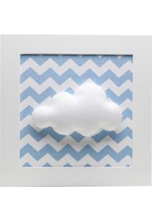 Quadro Decorativo Nuvem Chevron Bebê Infantil Menino Potinho De Mel Azul
