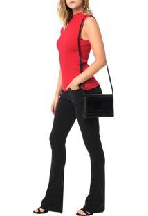 Bolsa Pequena Calvin Klein Jeans Verniz E Couro Preto - U