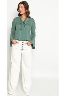 Blusa Com Recorte- Verde- Operateoperate