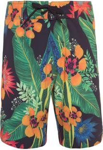 Bermuda Surf Masculina Flowershop Color - Preto