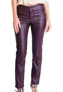 Calça Leather E Malha Miss Joy Skinny Feminina - Feminino-Café