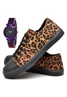 Tênis Sapatênis Casual Estampado Durban Com Relógio Luxury Dubuy 248El Preto