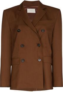 Lvir Double-Breasted Blazer Jacket - Marrom
