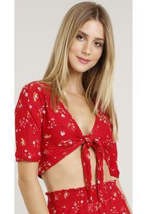 Blusa Feminina Cropped Estampada Floral Com Nó Manga Curta Decote V Vermelha