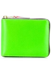 Comme Des Garçons Wallet Carteira Color Block Com Zíper - Verde