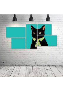 Quadro Decorativo - Minimalistic-Business-Cat - Composto De 5 Quadros - Multicolorido - Dafiti