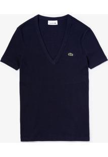 Camiseta Lacoste Gola V Azul