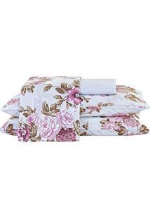 8b8813422b ... Jogo De Cama Arzene Queen Floral Rosê Com Elástico Com 4 Peças