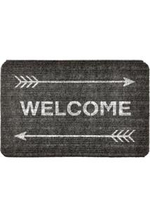 Capacho Carpet Welcome Com Flechas Cinza Único Love Decor