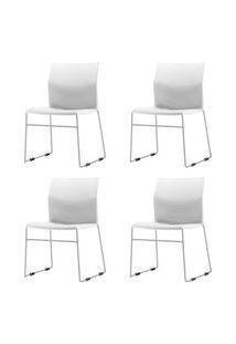 Kit 4 Cadeiras Connect Assento Branco Base Fixa Cinza - 57592 Branco