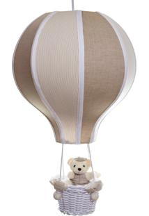 Lustre Balão Grande Com Ursinho Quarto Bebê Infantil Potinho De Mel Bege