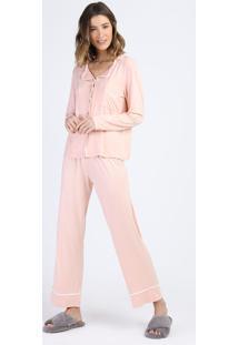 Pijama Feminino Manga Longa Com Botões Rosa