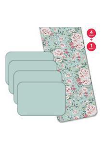 Jogo Americano Love Decor Com Caminho De Mesa Wevans Flowers Kit Com 4 Pçs + 1 Trilho