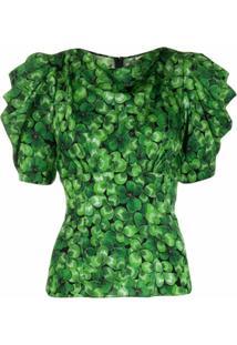 Dolce & Gabbana Blusa Com Estampa E Amarração - Verde