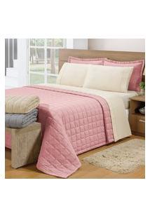 Cobre Leito Soft Queen 3Pçs Rosê