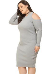 -45% Vestido Tubinho Manga Longa Cinza Miss Masy Plus 6d2a566040e3d