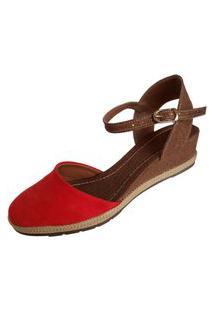 Sandália Scarpe Anabela Vermelha