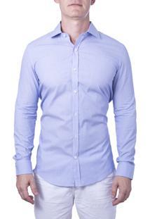 Camisa Alfaiataria Burguesia Branca Com Risca Fina Azul Básica 100% Algodão