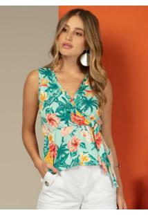Blusa Com Babado No Decote Floral Verde