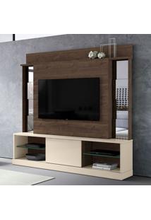 Estante Para Home Theater E Tv Até 65 Polegadas Doha Marrom E Off White